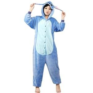 Autek Animaux Onesie unisexe Costume de déguisement Hoodies pyjamas sommeil Porter point bleu (PJ-StitchBlue) (L)