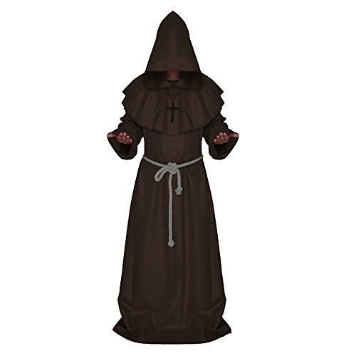 Vococal - Disfraces de Halloween, Hombres Medieval Capucha Robe,Monjes Capa de Pastor de Brujas Cosplay para Fiesta y Festival (Café)