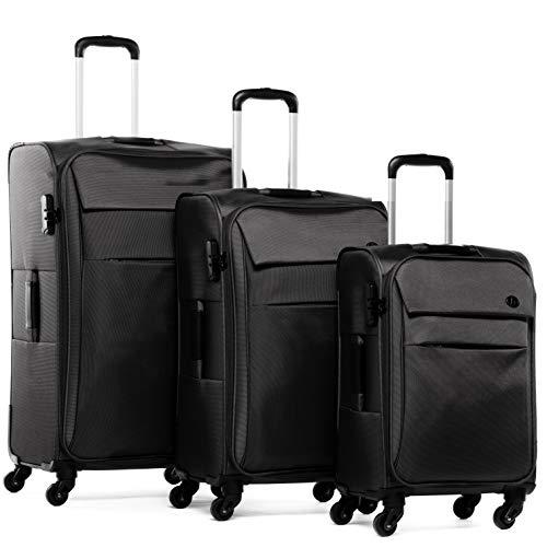 FERGÉ Kofferset 3-teilig Weichschale Calais Trolley-Set mit Handgepäck 55 cm 3er Set Stoffkoffer Roll-Koffer 4 Rollen Stretch-Flex schwarz
