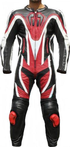 Einteiler Motorradkombi Motorrad Lederkombi aus Rindsleder echtleder Kombi Rot, Größe:52