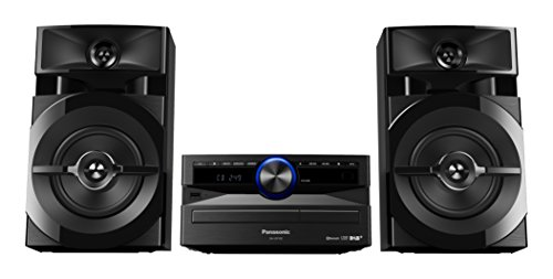 Panasonic Mini-System, 300 W, 2-Wege-Lautsprecher, Woofer:13 cm, CD-Player, CD-R/R W, Bluetooth, USB, DAB/DAB +, 30 FM/15AM RDS, AUX, Audio-Qualität, blaue Beleuchtung, Schwarz DAB/DAB+ Radio - Zwei-wege-radio Fm