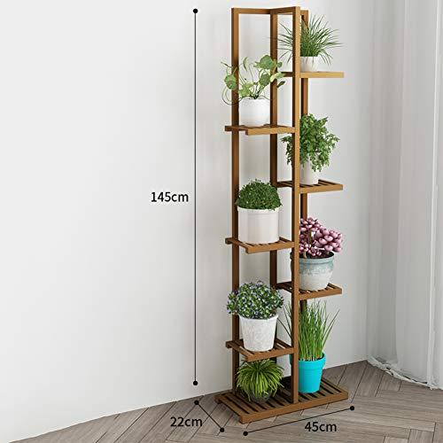D&LE 7 Ebenen Bambus Blumenständer Multi Holz Regale Bonsai Blumentöpfe Regal Für Balkon Wohnzimmer Yard Garten Indoor Outdoor-braun 18x9x57(45x22x145cm)