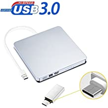 Grabadora DVD / CD externa , Unidad USB 3.0 Ultra Slim Optica Externa para Windows XP / 2003 / VISTA / Win 7/Win 8 /Win 10 /Linux ,Mac 10 OS Sistema y Ordenador portátil (Incluye Type-C adaptador)