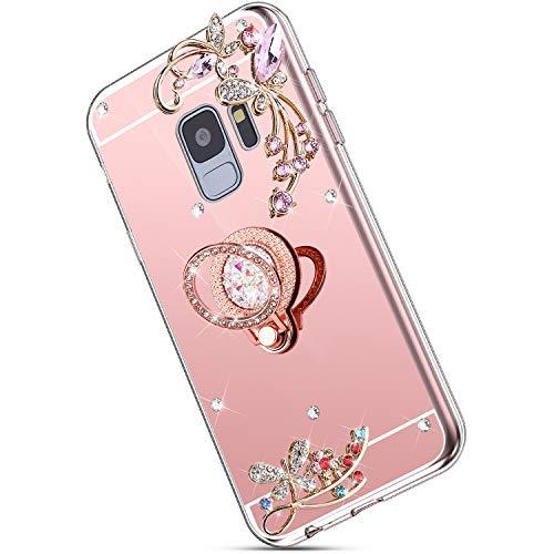 Ukayfe Kompatibel mit Samsung Galaxy S9 Hülle Glitzer Bling Kristall Blume Crystal Strass Diamant Handy-Ring Ständer Ultradünn Stoßfest Anti-Scratch Bumper Weiche Silikon TPU Handyhülle Case-Roségold Pink Crystal Bling