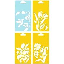 14cm x 8cm (Juego de 4) Stencil Plantilla Plástico Reutilizable para Decoración Pasteles Paredes