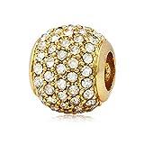 Andante-Stones 14K Gold Pavé Bead Charm mit weißen Zirkoniasteinen - Element Kugel für European Beads + Organzasäckchen