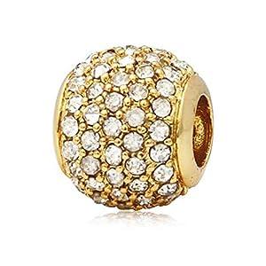 Andante-Stones 14K Gold Pavé Bead Charm mit weißen Zirkoniasteinen – Element Kugel für European Beads + Organzasäckchen