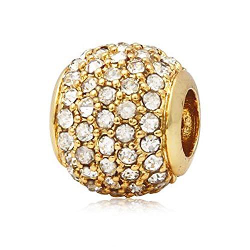 Andante-Stones 14K Gold Pavé Bead Charm mit weißen Zirkoniasteinen - Element Kugel für European Beads + Organzasäckchen (Gold Charm Beads)
