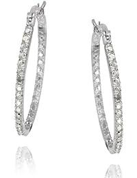 Sterling Silver Diamond Accent 33mm Oval Hoop Earrings