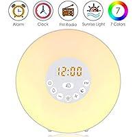 Lichtwecker, Zknen® Wake Up Licht mit FM Radio Digitaluhr Licht 6 Natürlichen Sounds Snooze Funktion 7 Farbige 10 Dimmstufen LED Lichter Touch Control Nachttischlampe für Erwachsene und Kinder