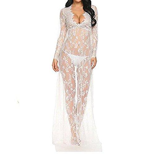 Imixcity Vestido de Noche de las Mujeres Embarazadas cuello en V Profundo Manga Larga ver a través del vestido de encaje Maxi vestido de Playa Vestido de Maternidad sexy Disparar Vestido (L, Blanco)