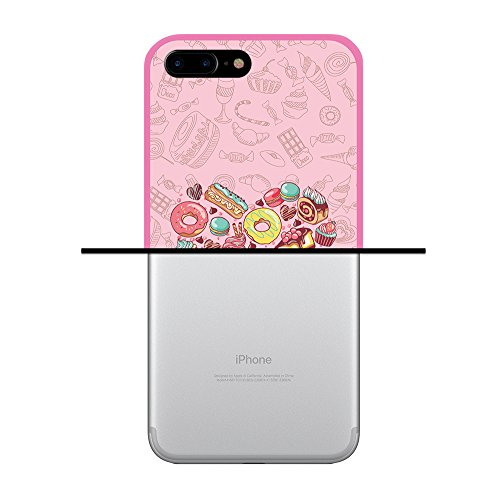 iPhone 7 Plus Hülle, WoowCase Handyhülle Silikon für [ iPhone 7 Plus ] Grau und Rosa Schädel Handytasche Handy Cover Case Schutzhülle Flexible TPU - Schwarz Housse Gel iPhone 7 Plus Rosa D0423
