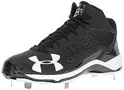 Under Armour Mens Ignite Mid Steel Baseball Cleats, Black/Black, 11
