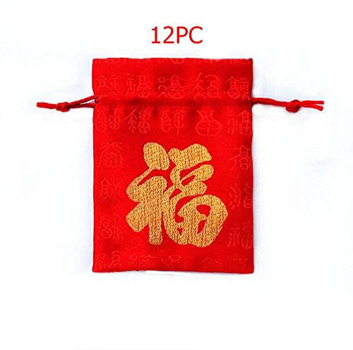 startdy Good Fortune Geschenktüten aus rotem Brokat, chinesischer Seide, 12 Stück -