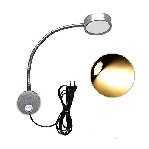 Wefond lámpara de pared flexible de cuello de cisne con luz de lectura de 5W montada en la pared con el enchufe y el interruptor para el dormitorio, oficina, banco de trabajo, estudio (Plata - Blanco cálido)