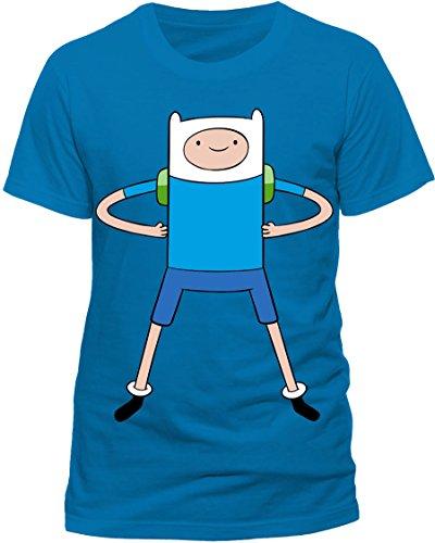 CID Herren T-Shirt ADVENTURE TIME - FINN, Gr. X-Large, Blau (Sleeve Shirt Short Jake)