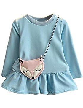 Vestido de invierno, RETUROM Niñas hermosa niña vestido de princesa + Fox bandolera bolsa de ropa conjunto tamaño...