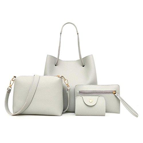 TUDUZ 4Pcs Damen Elegant PU-Leder Handtasche + Umhängetasche + Messenger Tasche + Card Paket (Grau)