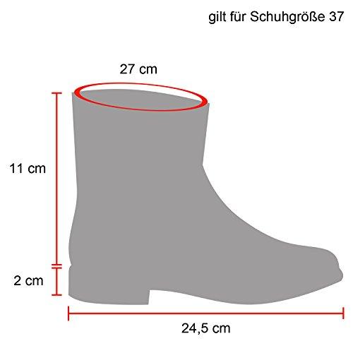 Stiefelparadies Damen Schlupfstiefel Warm Gefütterte Stiefel Echtleder Stiefeletten Wildleder-Optik Boots Profilsohle Schuhe Übergrößen Flandell Schwarz Schwarz