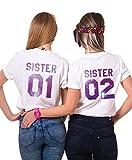 Sister Shirts Best Friends T-Shirts BFF T-Shirt für Zwei 2 Mädchen BFF Oberteile BFF Geschenke 2 Stücke (Weiß-Sky-Zi, Sister01-M+Sister02-S)