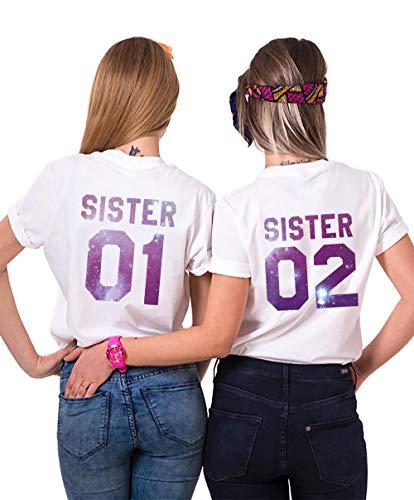 Sister Shirts Best Friends T-Shirts BFF T-Shirt für Zwei 2 Mädchen BFF Oberteile BFF Geschenke 2 Stücke (Weiß-Sky-Zi, Sister01-M+Sister02-M) -