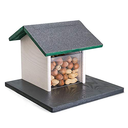 Holznager: Eichhörnchen Futterhaus aus Holz zum Aufhängen - Schlichtes, schönes Design - robust und wetterfest