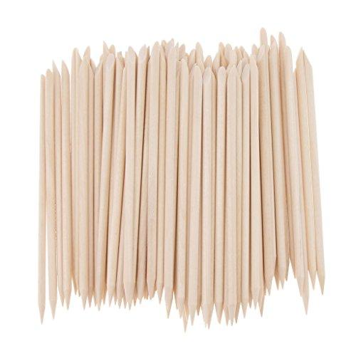 Baoblaze 100 Stücke Orange Holz Sticks Nagel Häutchen Stick für Drücker Remover Maniküre Kunst Pediküre