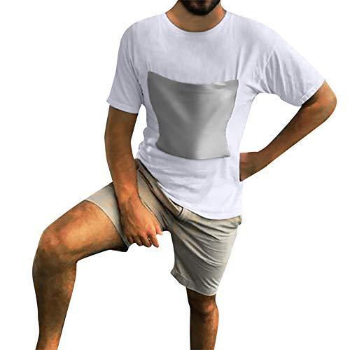 Fenverk Herren T-Shirt Kurzarm Shirt Mit Rundhalsausschnitt Slim Fit Schlank Hemden Tops Hemd Sommer Freizeit(Weiß 2,XL)