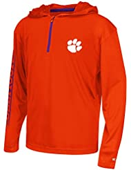 """Clemson Tigers Youth NCAA """"Sleet"""" 1/4 Zip Pullover Hooded WindShirt Chemise"""