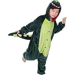 kigurumi pigiami animali da bimbi bambini tuta costume carnevale Halloween festa cosplay unisex-M/8-9years-Dinosauro verde