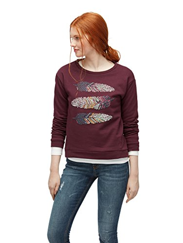 TOM TAILOR Denim Damen Sweatshirt Feather Application Sweater gipsy purple