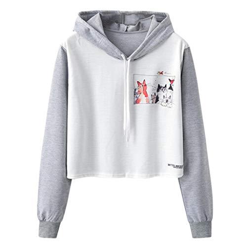 BASACA Damen Bluse Sweatshirt Longshirt Loose O-Neck Cactus Animal Print Langarm Short Langarmshirt Tunika Oberteile Hemdbluse HatPullover Hoodie Pullover (M, Grau1) - Crochet Trim Blouse