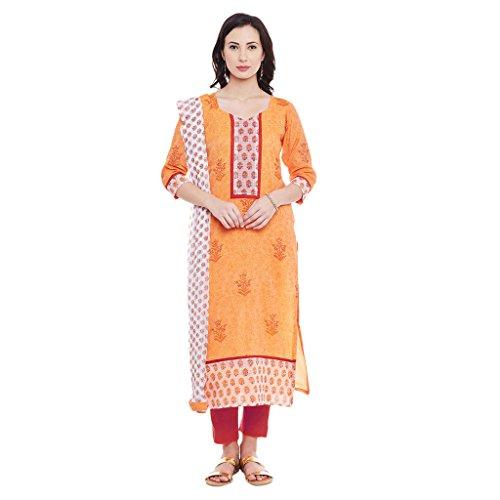 Dress Material by Pinkshink | Chanderi Orange Salwar Kameez Dress Material p129a
