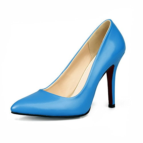 Odomolor Femme Bout Pointu Bout Pointu Pull Shimmer Pure Stiletto Talon Bleu Ballerines