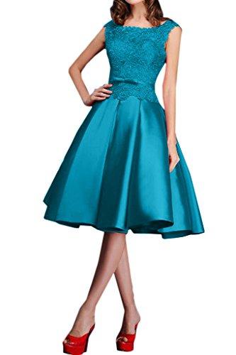 Royaldress Blau Spitze Knielang Satin Abendkleider Promkleider Brautmutterkleider A-linie Kurz Rock Blau