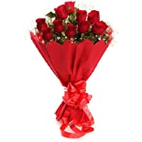 Floral Fantasy Valentines Day of Fresh Flower Bouquet (Bunch of 10 Red Roses)