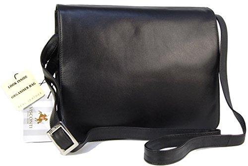 - 41p9OHVeX 2BL - Visconti Leather Organiser Cross-Body iPad Kindle Bag Atlantic- 754 – Black
