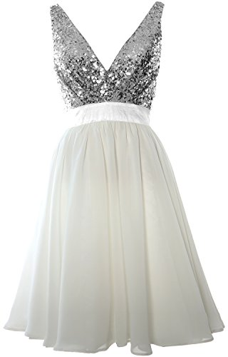 MACloth Women V Neck Sequin Cocktail Dress Vintage Short Formal Prom Party Gown Gray-Ivory