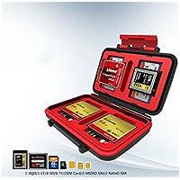 LridSu Portátil y Conveniente Flash antichoque Impermeable Tarjeta de Memoria Titular de la Caja de Almacenamiento Duro 3X CF 8X SD/SDHC (Rojo)