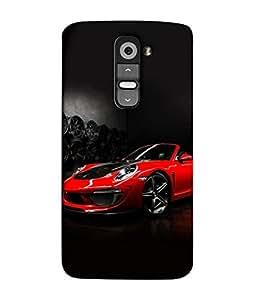 PrintVisa Designer Back Case Cover for LG G2 :: LG G2 Dual D800 D802 D801 D802TA D803 VS980 LS980 (The Red Classy Car In Black Design)