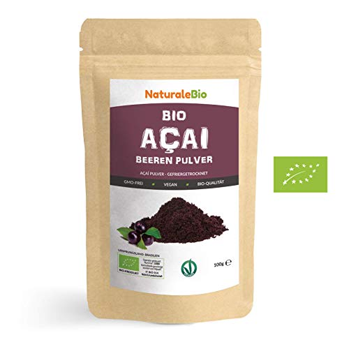 Açaí Beeren Pulver Bio [ Gefriergetrocknet ] 100g. Pure Organic Acai Berry Powder ( Freeze-Dried ). 100{c3621baed5a7c7eadc226d2c79a721f9a084aa6bfc70f103834ef5588ba778ac} aus Brasilien, Getrocknet, Rohkost und Extrakt aus Pulp der Acai-Beeren Frucht. NATURALEBIO