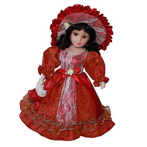 30cm Porzellan Mädchen Puppe Sammlerpuppe Standpuppe mit Prinzessinkleid, Handtasche, Hut und Ständer - Rot, (Viktorianische Puppe Mädchen Kostüm)