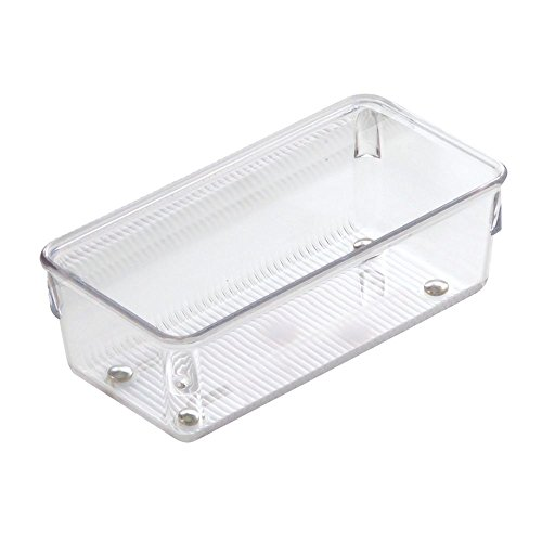 InterDesign Linus Organiser Tray, Small Plastic Drawer Insert, Works Well as Accessories Organiser, Clear