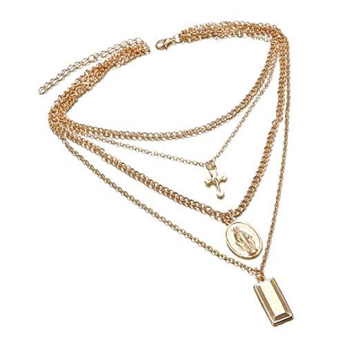 Samidy Frauen Mädchen Multi-Layer Gold Anhänger Halskette Modische Kette Choker Halskette -