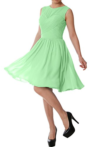 MACloth Elegant O Neck Short Bridesmaid Dress Chiffon Wedding Party Formal Gown Menthe
