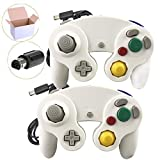 Poulep 2 Pack Klassisch Wired Gamepad Joypad Controller Kompatibel für Wii Nintendo Gamecube(White and White)