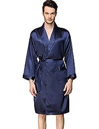 8b80a6f65f YANXH Men s Silk Bathrobe Kimono Lapel Long Sleeves Dressing Gowns Soft  Cardigan Lightweight Sleepwear Nightgowns for Casual Spa…