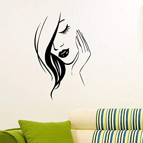(Dalxsh Schönheit Mädchen Friseursalon Vinyl Wandaufkleber Makeup Wandtattoo Friseur Dekor Wimpern Lippen Friseurladen Dekoration Wandbild 37X60 Cm)