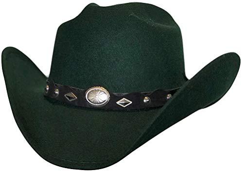 Modestone ''Faux Felt'' Cowboy-Hut Concho Hatband Green -