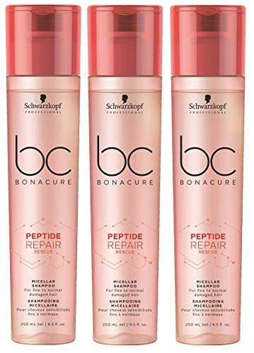 3er Peptide Repair Rescue Shampoo Bonacure Schwarzkopf Professional Micellar für feines bis normales Haar je 250 ml = 750 ml -
